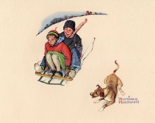 Norman Rockwell children Sledding